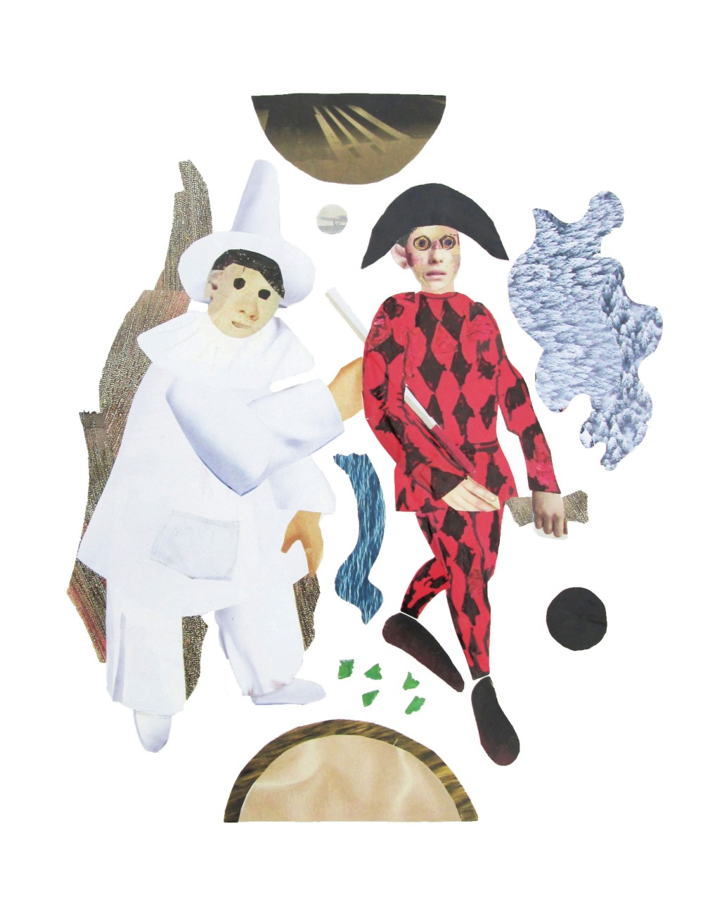 Harlequin And Pierrot (Collage)
